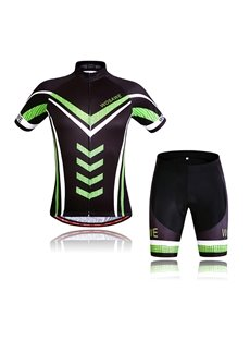 Men's 3D Padded Shorts Set Jersey with Green Reflective Stripe Cycling Clothing