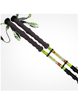 Durable Bright Green Hiking Trekking EVA Triarticular Alpenstock