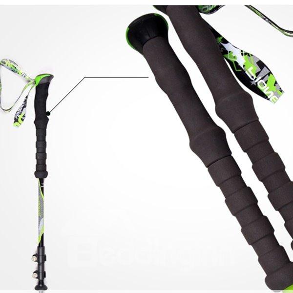 Durable Bright Green Hiking Trekking EVA Triarticular Alpenstock