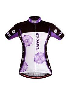 Men's Purple Flowers Pattern Short Sleeve Jersey Cycling Clothing
