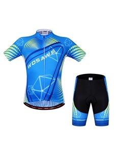 Mens Blue Breathable 3D Padded Shorts Set Outdoor Cycling Clothing