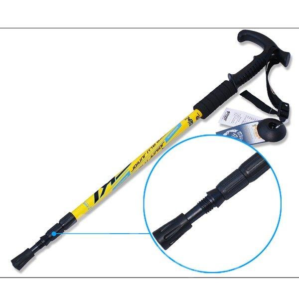 Flared Handle Trekking Hiking Adjustable Triarticular Aluminium Alloy Alpenstock