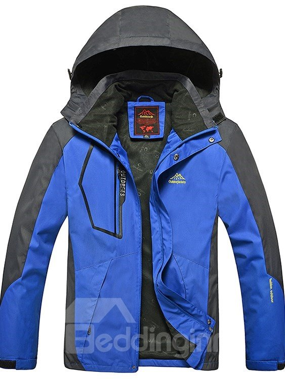 Male Outdoor Polyester Thermal Hooded Zip-Front Jacket