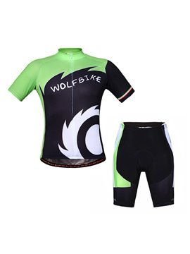 Men's Green and Black Wolfbike Short Sleeve Jersey Breathable Cycling Clothing
