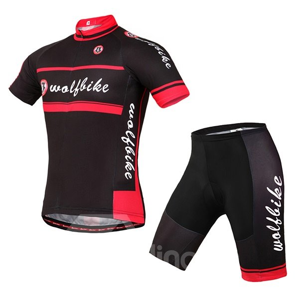 Unisex Black and Red Breathable Short Sleeve Jersey Quick-Dry 3D Padded Cycling Jersey