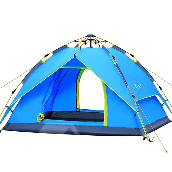 3-4 Person Outdoor Waterproof Double Layers Hydraulic Aluminous Skeleton Tent with Rainfly Camping Tent