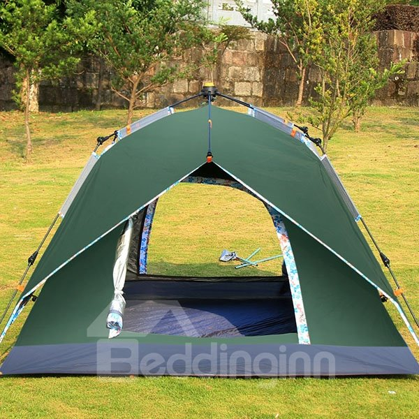 3-4 Person Outdoor Waterproof Double Layers Fiberglass Spinning Automatic Skeleton with Rainfly Tent