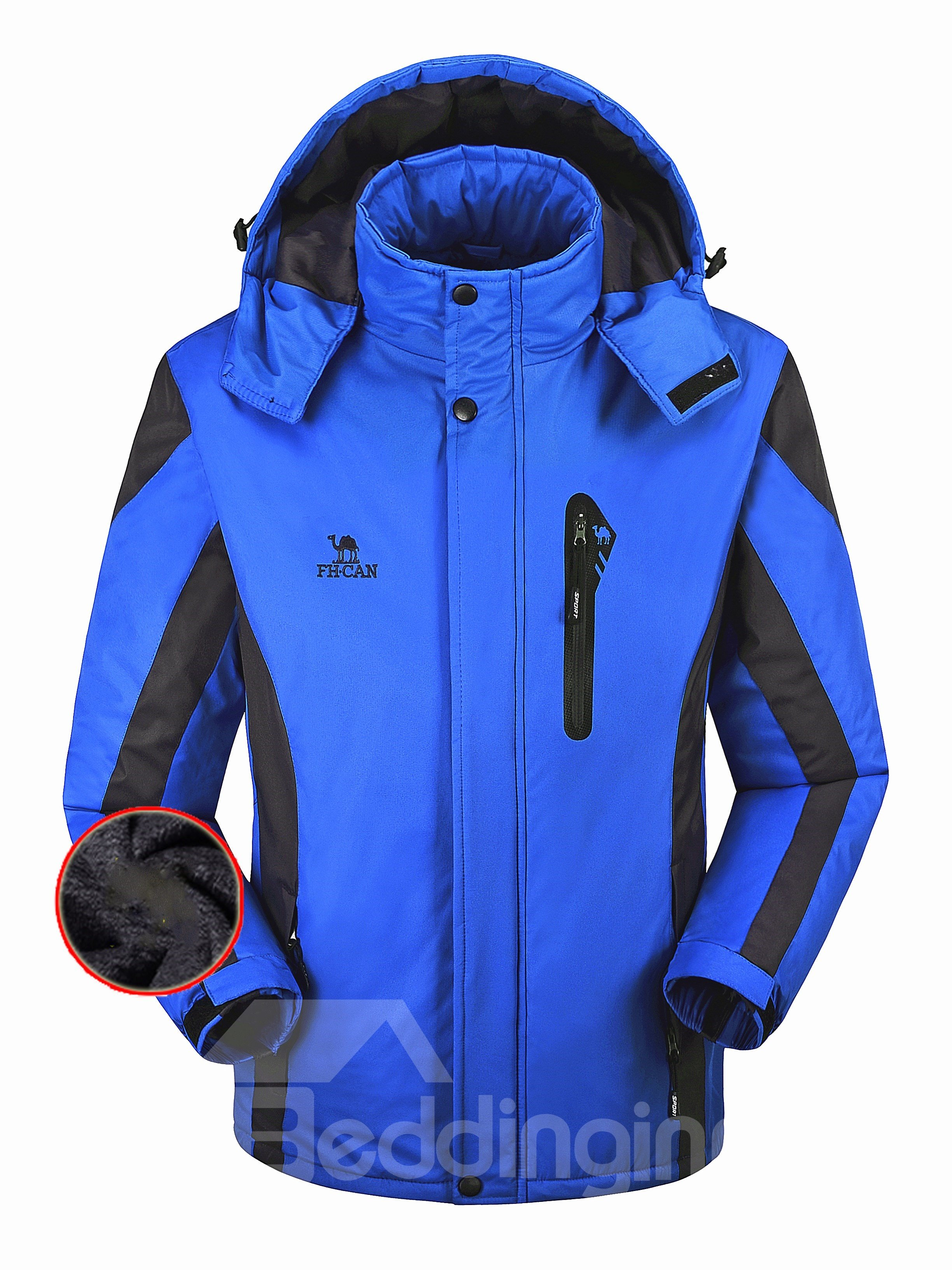 Male Outdoor Cloth with Thermal Zip-Front and Removable Hat Windproof Jacket