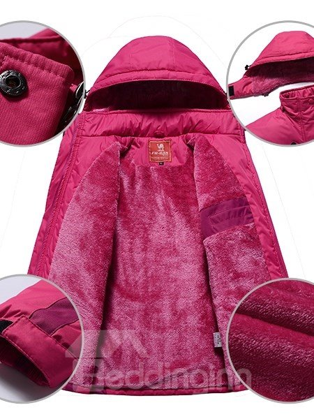 Female Windproof Outdoor Cloth with Removable Hat Thermal Zip-Front Jacket