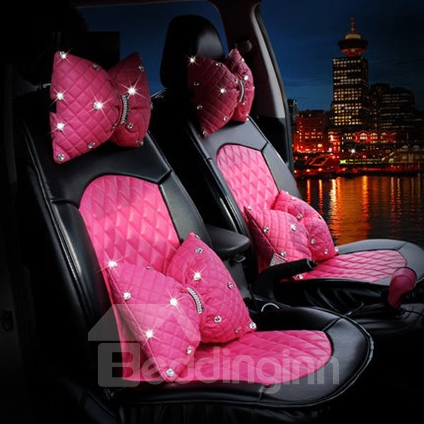 Pink Bow Style With Diamond Series And Real Pu Leather