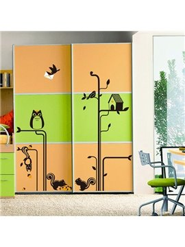 Cute Squirrel and Tree Pattern Wall Sticker