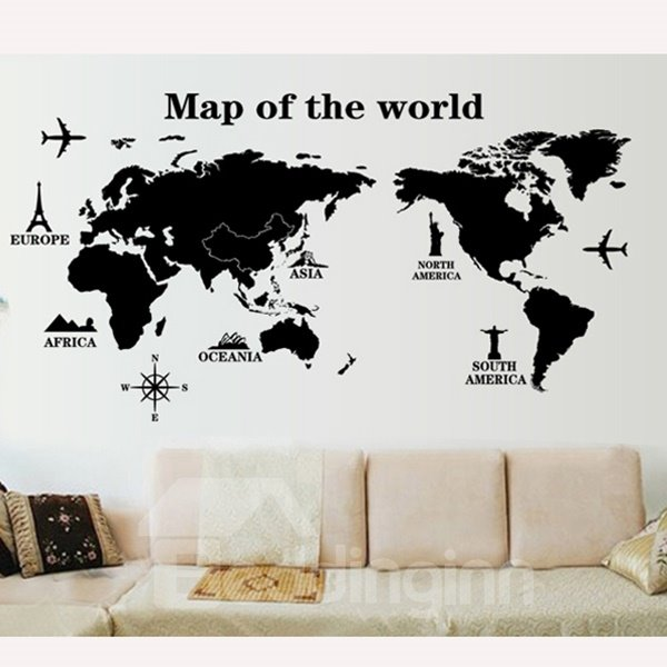 Decorative Black Map of the World Pattern Wall Sticker
