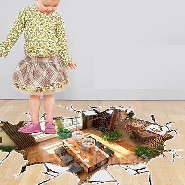 Creative Design Broken Floor Pattern 3D Wall Sticker