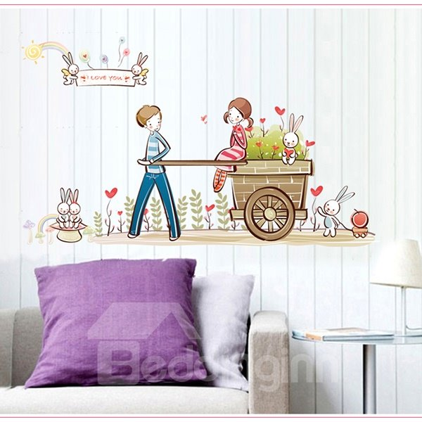 Romantic Boy and Girl Pattern Wall Sticker