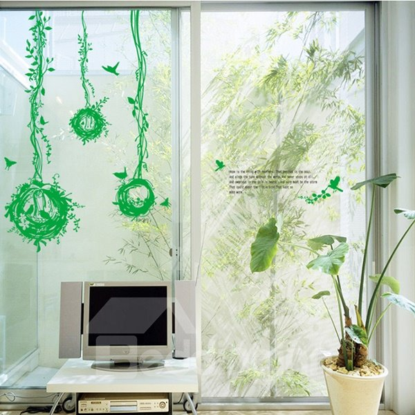 Green Birds and Nests Pattern Glass Wall Sticker