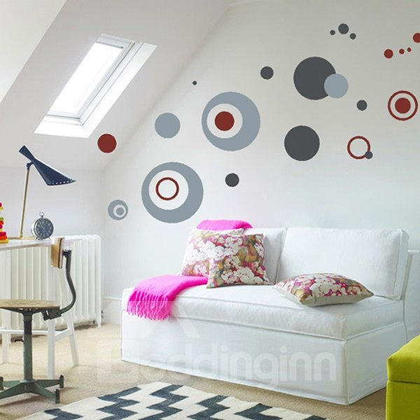 Simple Gray Round Point Pattern Wall Sticker