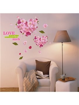 Romantic Heart Pattern Flower Wall Sticker