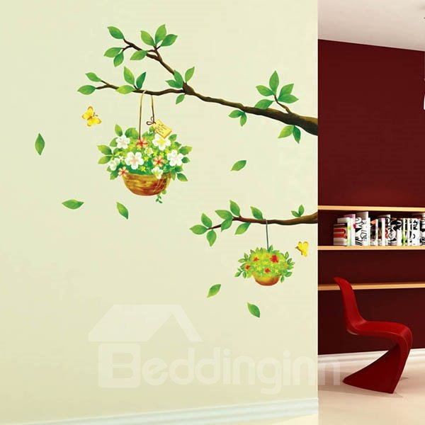 Natural Flower Basket Countryside Style Wall Stikers