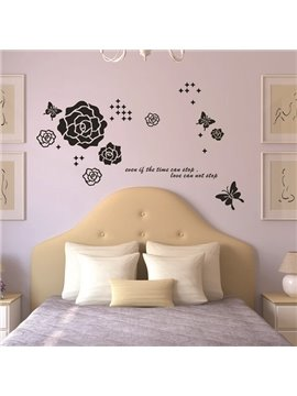 Simple Flowers and Butterfly Countryside Style Wall Stickers