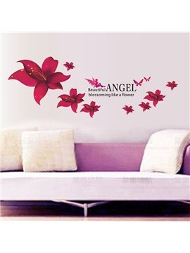 Beautiful Angel and Flower Pattern Wall Sticker