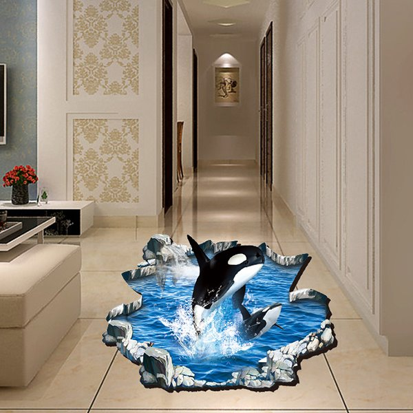 Creative Broken Floor 3D Killer Whale Pattern Bathroom Wall Sticker