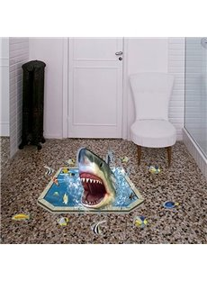 Creative Design Shark Pattern Bathroom Decoration 3D Wall Stickers
