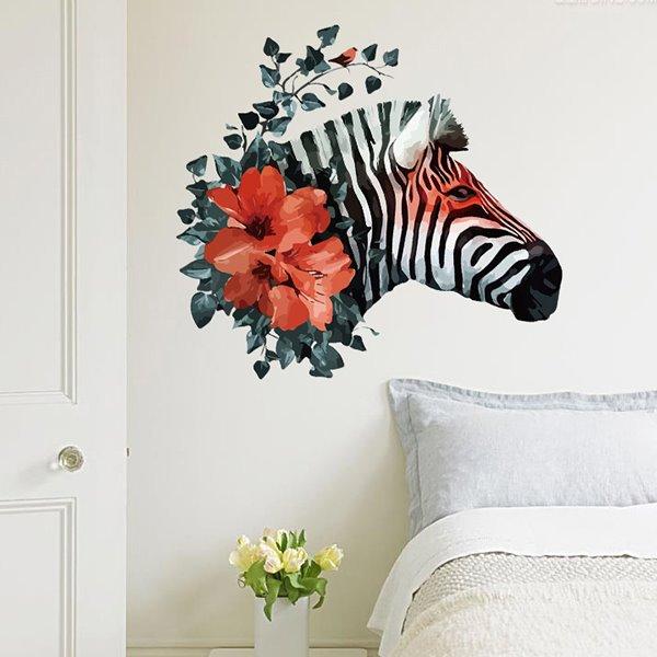 Beautiful Flower Horse Head Pattern Wall Sticker