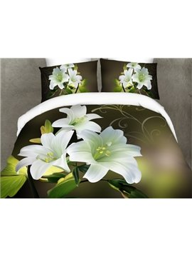 Glamorous White Lilies Print 4-Piece Polyester Duvet Cover Sets
