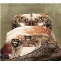 Unique Lifelike Wolf Couple Print 4-Piece Polyester Duvet Cover Sets