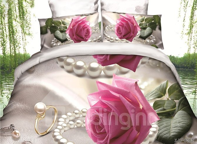 Adorable Pink Rose and Pearl Print 4-Piece Polyester Duvet Cover Sets
