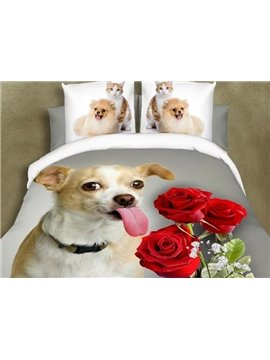 Lifelike 3D Dog and Roses Print 4 Pieces Polyester Bedding Sets
