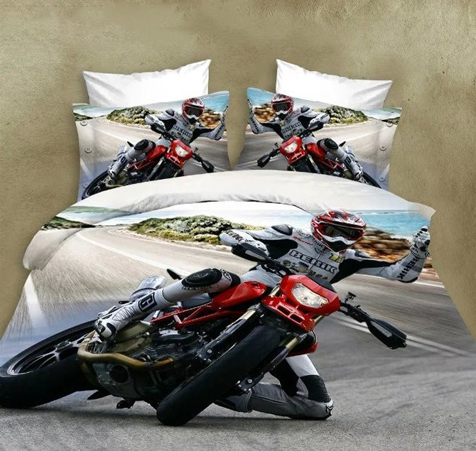 Super Cool Motorcycle Print 4 Pieces Polyester 3d Bedding