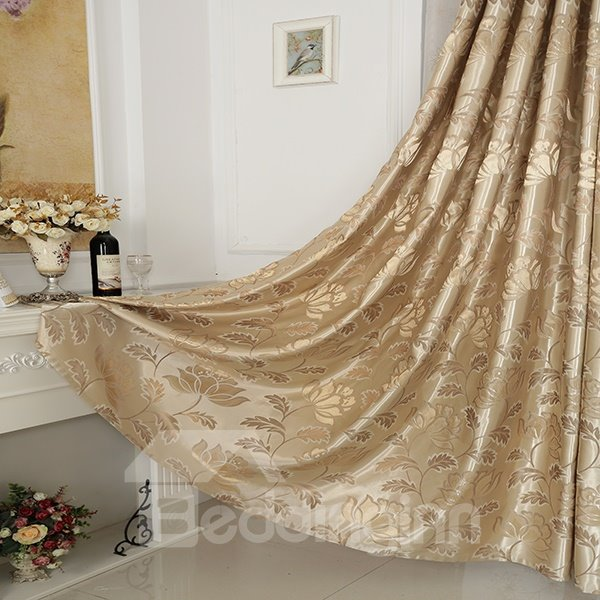 High-Quality Water Lily Pattern Beige Top Curtain