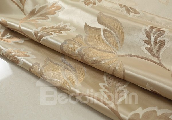 High-Quality Water Lily Pattern Beige Grommet Blackout Top Curtain
