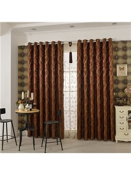 Red High Precision Jacquard Cloth Arabesque Grommet Top Curtain