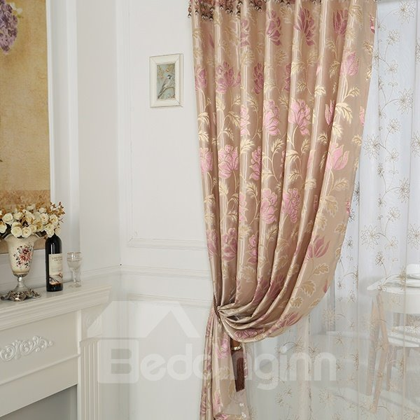High-Quality Water Lily Pattern Pink Grommet Blackout Top Curtain