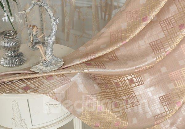 Pink High Precision Jacquard Cloth Argyle Grommet Top Curtain