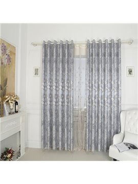 High-Quality Water Lily Pattern Grey Grommet Blackout Top Curtain