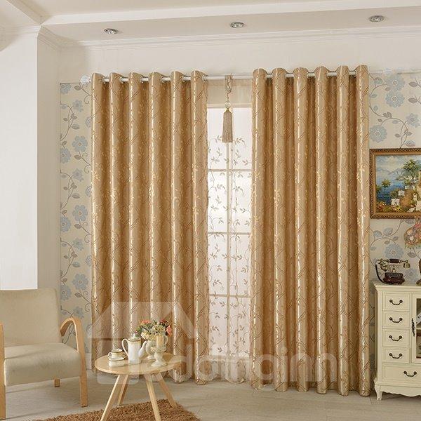 Beige High Precision Jacquard Cloth Argyle Grommet Top Curtain