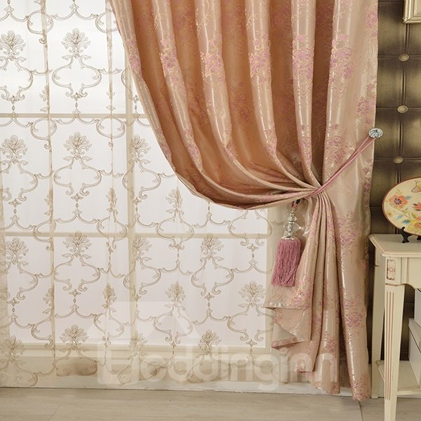 Pink High Precision Jacquard Cloth Peony Pattern Grommet Blackout Top Curtain