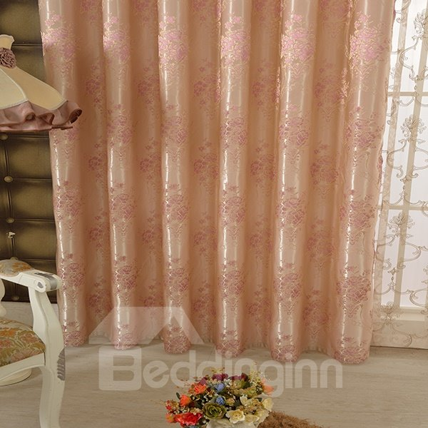 Pink High Precision Jacquard Cloth Peony Pattern Grommet Top Curtain