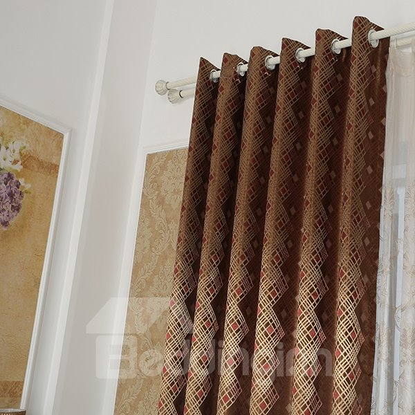 Dark Brown High Precision Jacquard Cloth Argyle Grommet Top Curtain