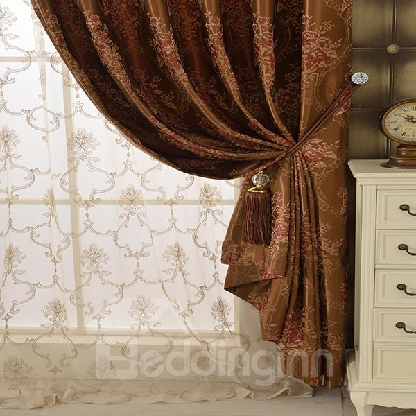 Brown High Precision Jacquard Cloth Peony Pattern Grommet Blackout Top Curtain