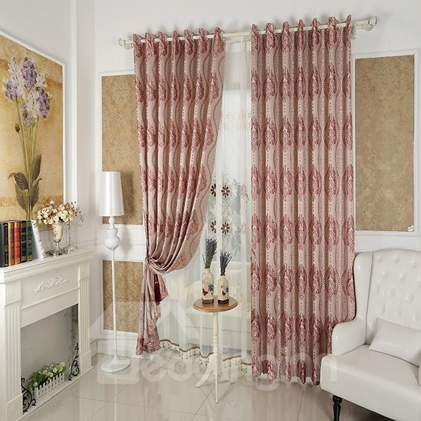 Faux Chenille Jacquard Cloth Printed Pattern Red Grommet Top Curtain