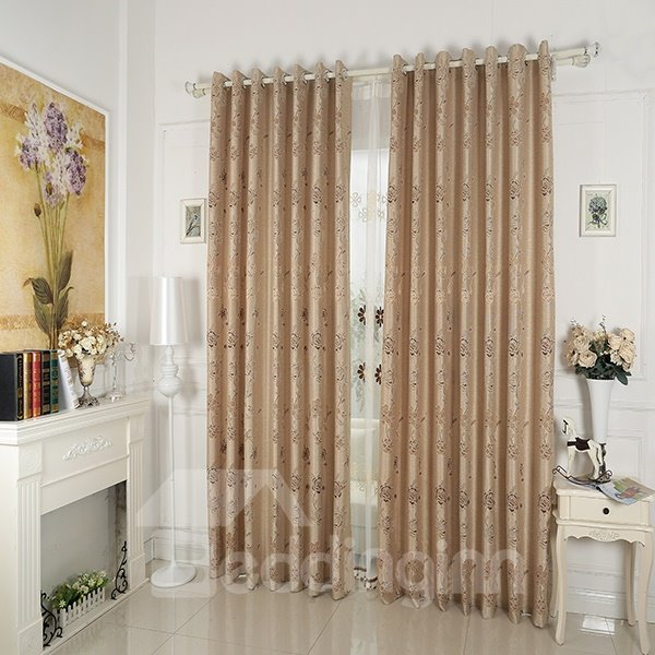Coffee Rose Pattern Faux Chenille Jacquard Grommet Top Curtain