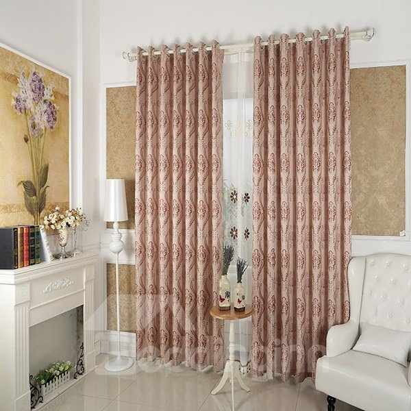 Totem Pattern Faux Chenille Jacquard Grommet Top Curtain