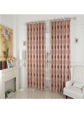 Flower Pattern Faux Chenille Jacquard Grommet Top Curtain