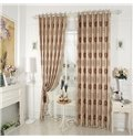 Flower Pattern Faux Chenille Jacquard Grommet Top Curtain