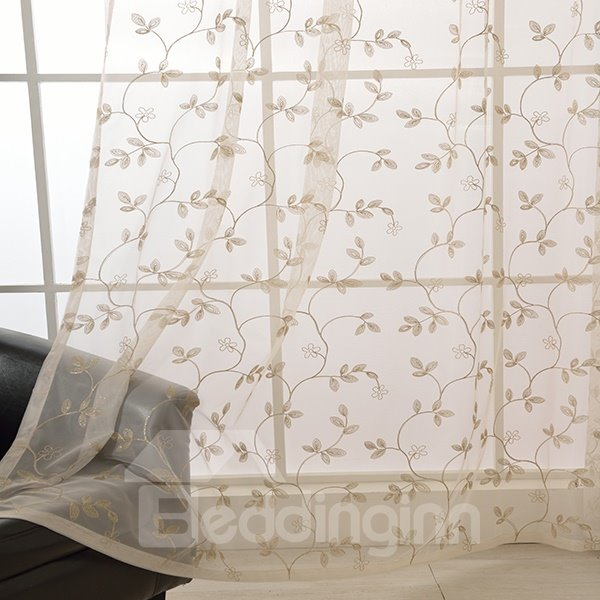 Vine Pattern Embroidery Custom Sheer Curtain