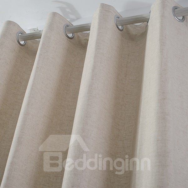 Modern Minimalist Natural Color Grommet Top Curtain
